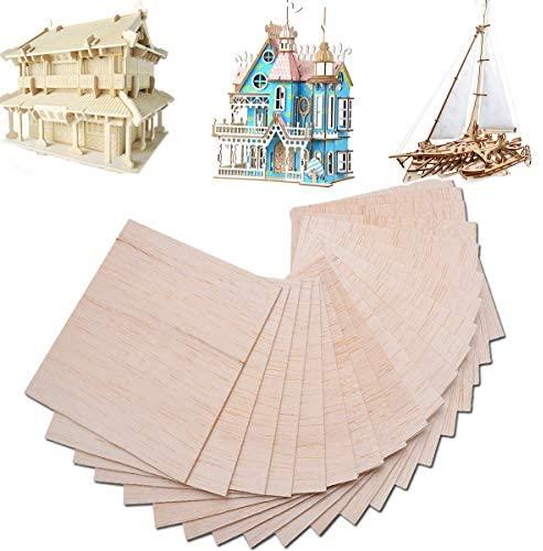 15 fogli di legno di balsa per modellismo, fai da te, 150 mm x 100 mm x 2...