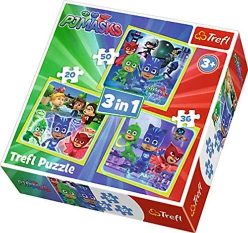 trefl Puzzle 3 in 1 Modello PJ Masks 20-36-50 Pezzi, 34840, Multicolore