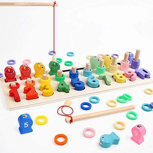 LBLA Giochi Educativi Montessori, Gioco Pesca Magnetica, Anelli impilabili...