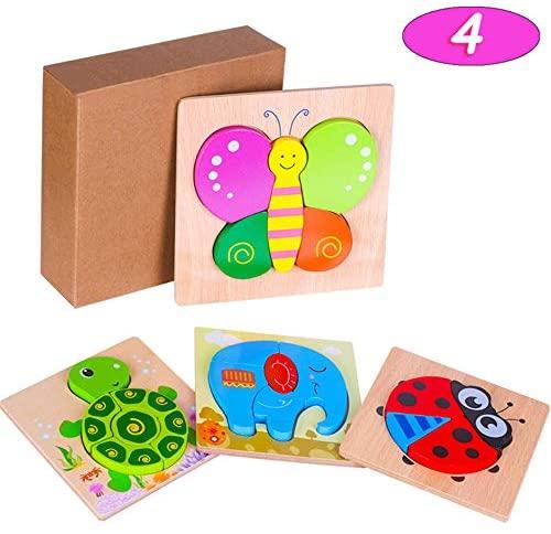 Puzzle in Legno per Bambini Giocattoli Animali, 4 Pezzi Prescolare...