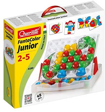 Quercetti- Fantacolor Junior Gioco Educativo, Multicolore, 48 bottoni, 2...
