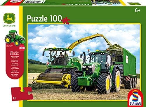 Schmidt Spiele- John Deere 6195M-Puzzle da 100 Pezzi con Trattore Siku,...