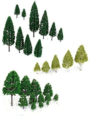 WINOMO 27pcs modello alberi in miniatura alberi treni Ferrovie scenario...