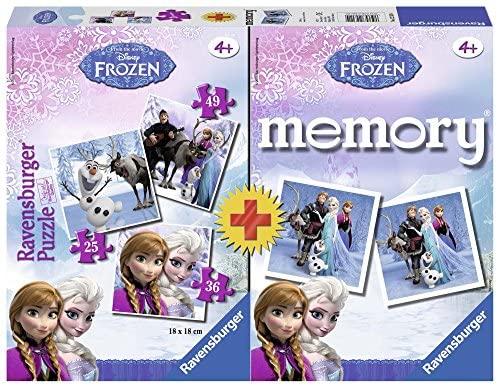 Ravensburger- Frozen+Memory Disney Princess Set Puzzle per Bambini,...