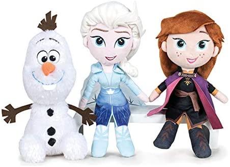 Disney Frozen - Confezione da 2 Peluche 20cm Princesses Elsa e Anna + Olaf...