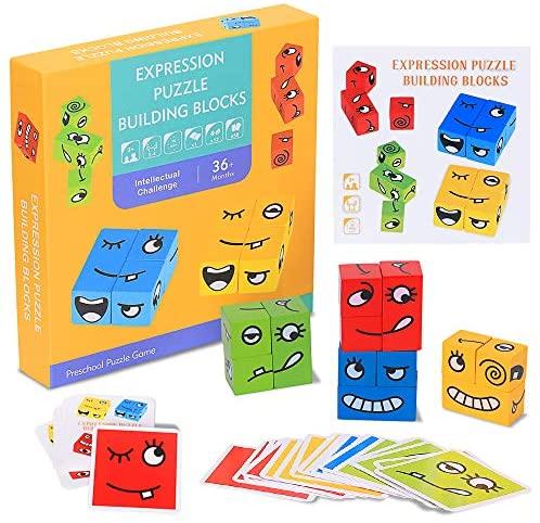 RXYYOS Espressione Puzzle di Legno Jigsaw Wooden Magic Cube Giocattoli...