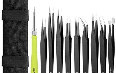 Umiten Kit di pinzette ESD, antistatiche, multi-standard, in acciaio INOX…