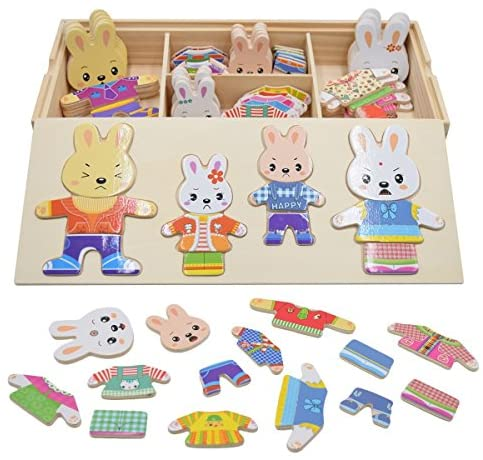 Vesti la Famiglia Conigli Puzzle Legno Bambini Educativi Giocattolo Giochi...