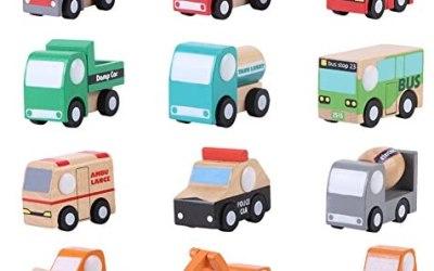Zerodis 12 Pezzi Set Veicoli in Legno Bambino Ragazzo Cartoon Toy Car…