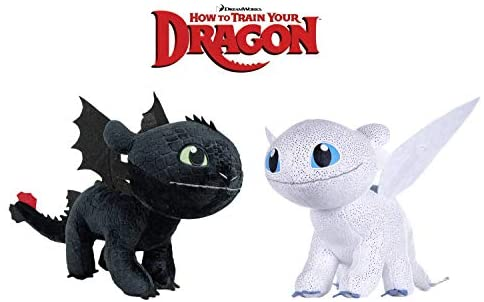 HTTYD Dragons Pack 2 peluches Drago Furia Buia Bianca + Sdentato Toothless...