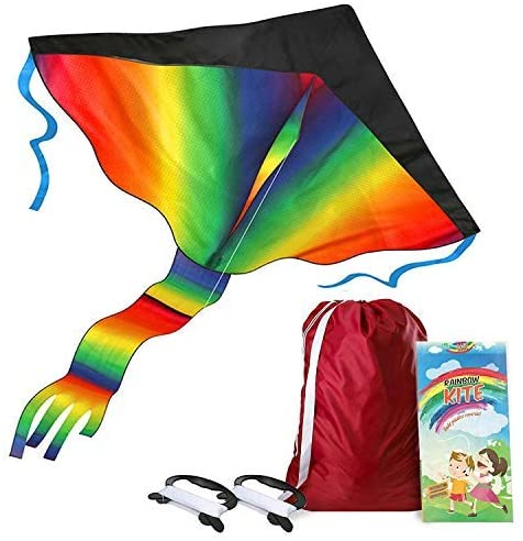 AGREATLIFE - Aquilone arcobaleno con borsa portaoggetti e manico extra...