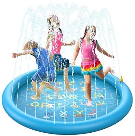BOIROS Tappetino Gioco d'Acqua per Bambini Splash Play Mat Sprinkler Pad...