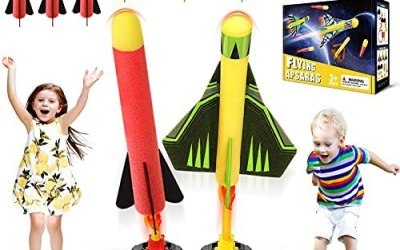 Flyfun Razzo Spaziale Giocattolo Bambini, Lanciarazzi Giocattolo con 6…