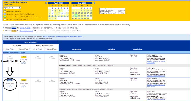 Make sure you are looking for flights with SAVER availability