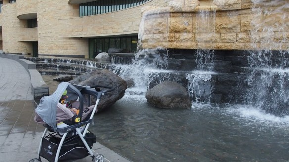 The cooling waterfall plus white noise helped put baby M to sleep...for a bit