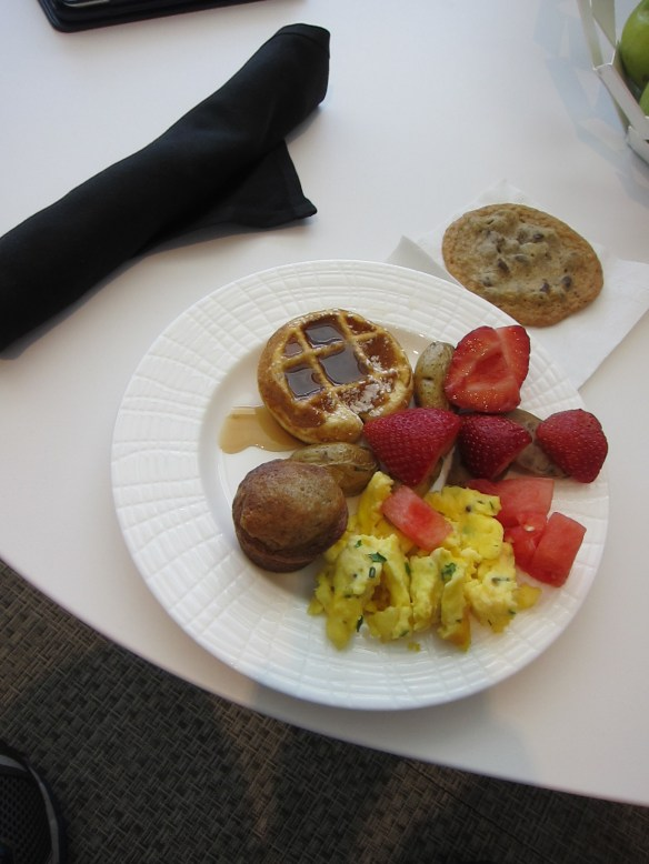 My breakfast plate - the fruit was nice and fresh. Oh and that cookie is awesome, I took two to go
