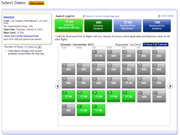 AA will show you a calendar of availability