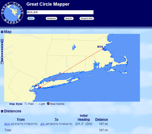 Boston to JFK is only 187 miles each way