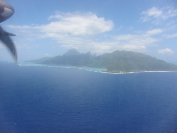 Air Tahiti's inter-island flights are no frills but the views sure are nice