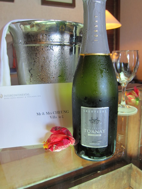 Complimentary champagne bottle for our anniversary