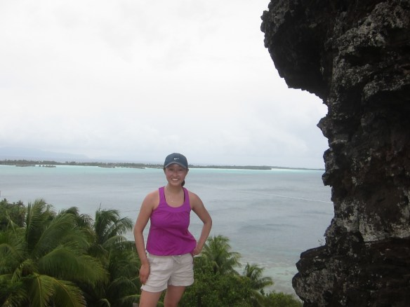Too tired to write about our island-round bike ride, but here's a picture of our view of our hotel from a lookout point