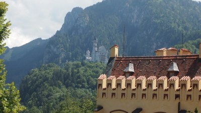 Neuschwanstein is about an hour walk from this point at Hohenschwengau