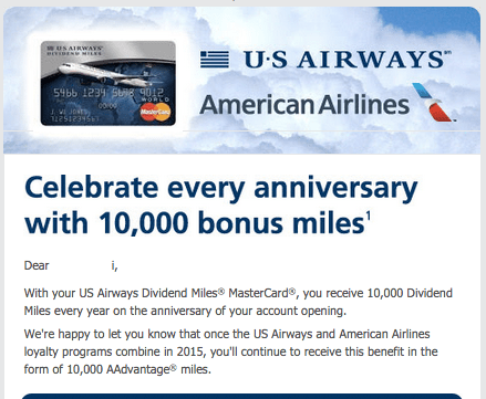 Instead of 10,000 US Air miles next year we'll be getting 10,000 AAdvantage miles
