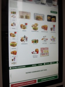Ordering from the automated kiosk is possible with chip and pin cards!