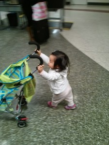 Toddlers. Insisting on pushing stroller through terminal in PJs at 530 AM...