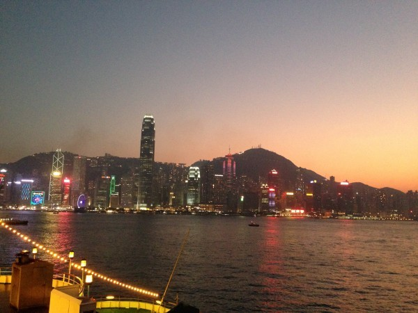 This wasn't from the ferry, but it's tough to beat the view of the HK skyline at night (or dusk)