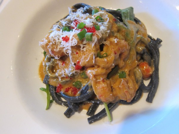 Squid ink crawfish pasta