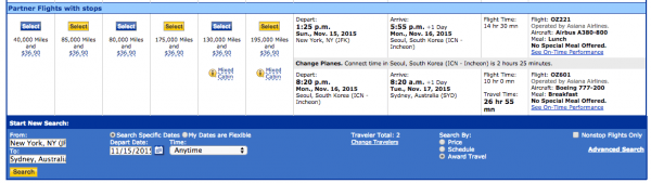 Two seats to Sydney via Seoul using United miles on Asiana