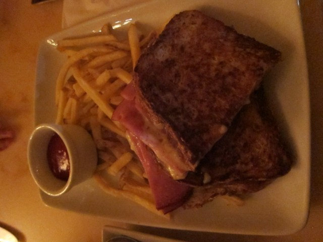 Croque Monsieur = fancy grilled cheese. Though I'm not sure if they forgot the bechamel or what...