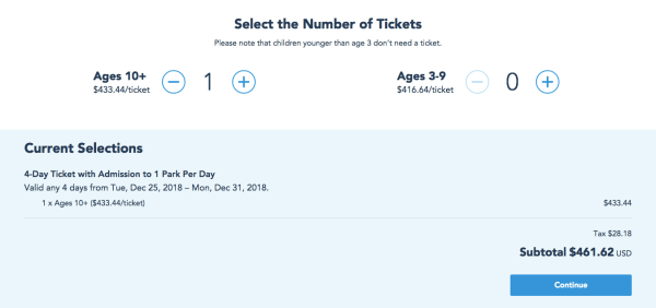 Walt Disney World Ticket Changes - Christmas 2018