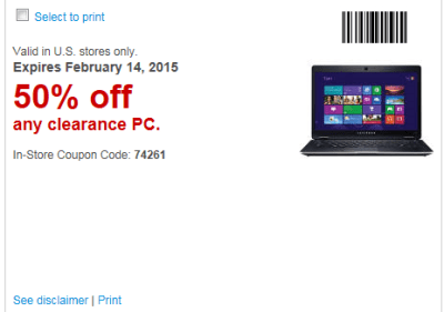 2-2-15 The greatest Staples coupon of all time?  50% off Clearance Computers