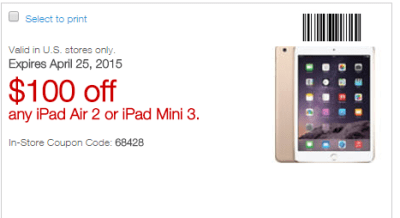4-19-15 Staples $30 off $150 with Visa Checkout, $100 off Ipad 2 or Ipad Mini 3; The Sears Grind..