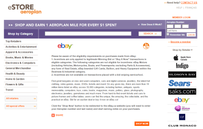 eBay 5x via Aeroplan eStore and Targeted eBay Bucks 5x!