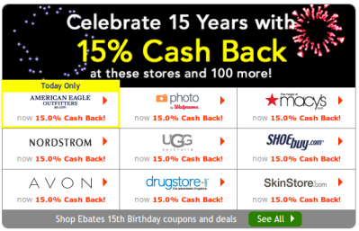Ebates 15% Cash Back This Week on 250+ Stores Incl Deal Mommy Fave Panasonic