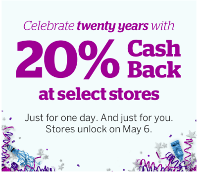 Coming Monday 6 May – Ebates 20th Birthday!