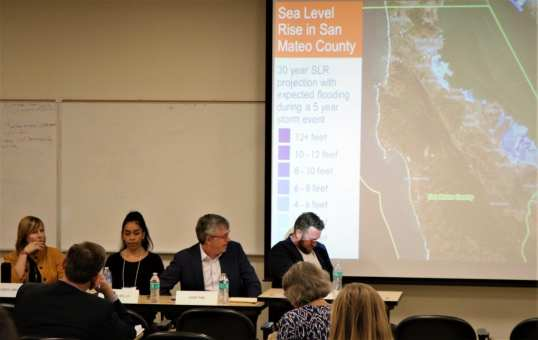 Save The Bay's Political Director, Cheryl Brown, moderated a panel of experts from across San Mateo County, including Youth United for Community Action's (YUCA) Executive Director, Ofelia Bello, HASSELL design firm's Principle, Richard Mullane, and San Mateo County Supervisor, Dave Pine.