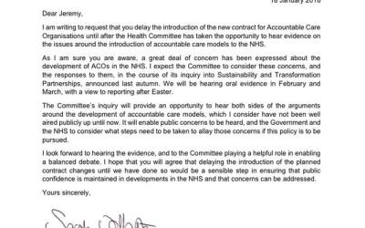 Letter to Jeremy Hunt from Conservative MP Dr Sarah Wollaston