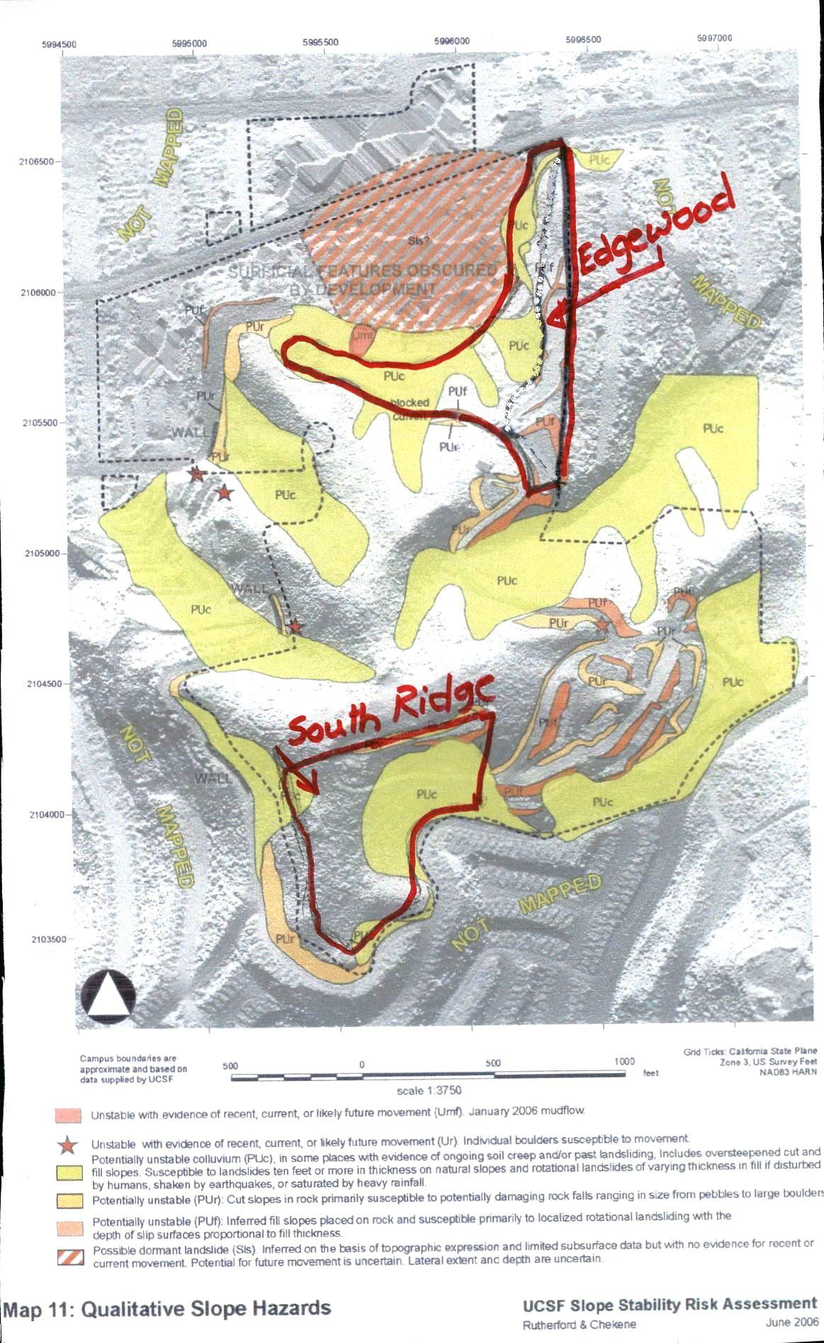 Red boundaries shown tree-felling sites. Colored areas indicate landslide risk.