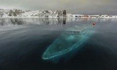 Iate afundado na Antártida.