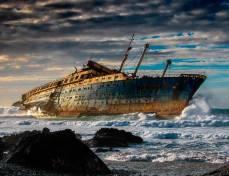 Destruição da América SS. Fuerteventura, nas Ilhas Canárias, Espanha.