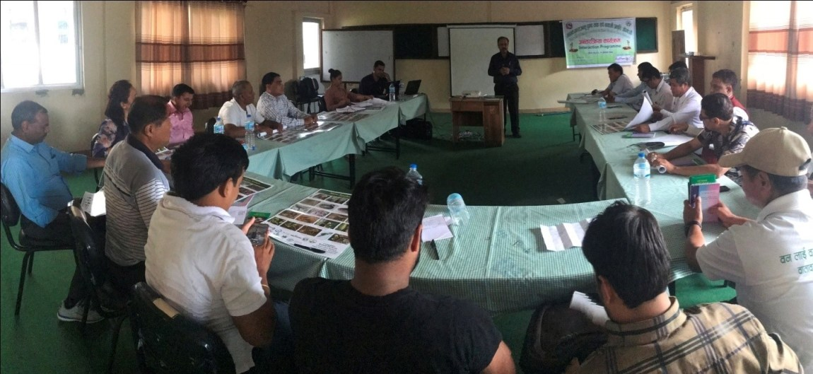"District Forest Officer, Romraj Lamichhane talking about ""Human Wildlife Conflict Management"" in Rupandehi district."