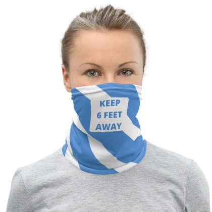 Blue color keep 6 feet away Neck Gaiter