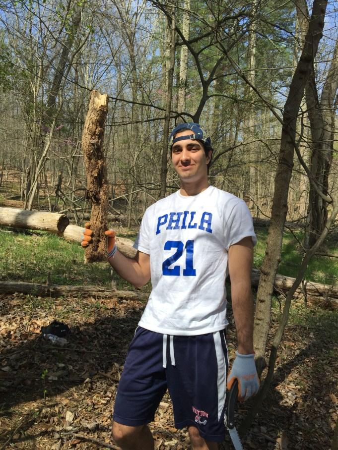 Heavier than it looks English ivy vine. Nicky Motazedi saving yet another tree.