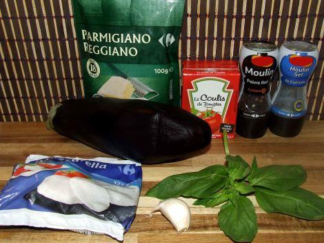 les ingrédients du gratin d'aubergine à la parmesane