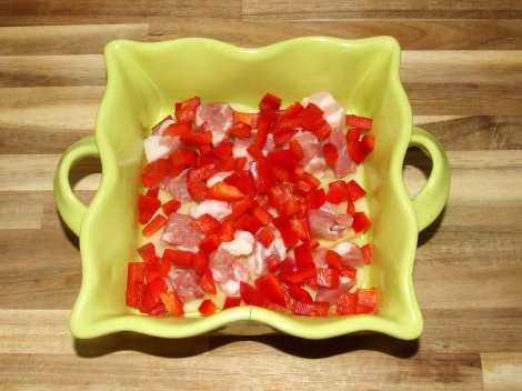 ajout du lard et des légumes au gratin