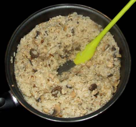 le bouillon réduit du risotto aux morilles